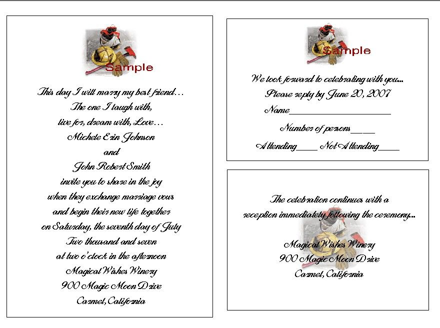 100 Personalized FIREFIGHTER WEDDING INVITATION SETS Fire