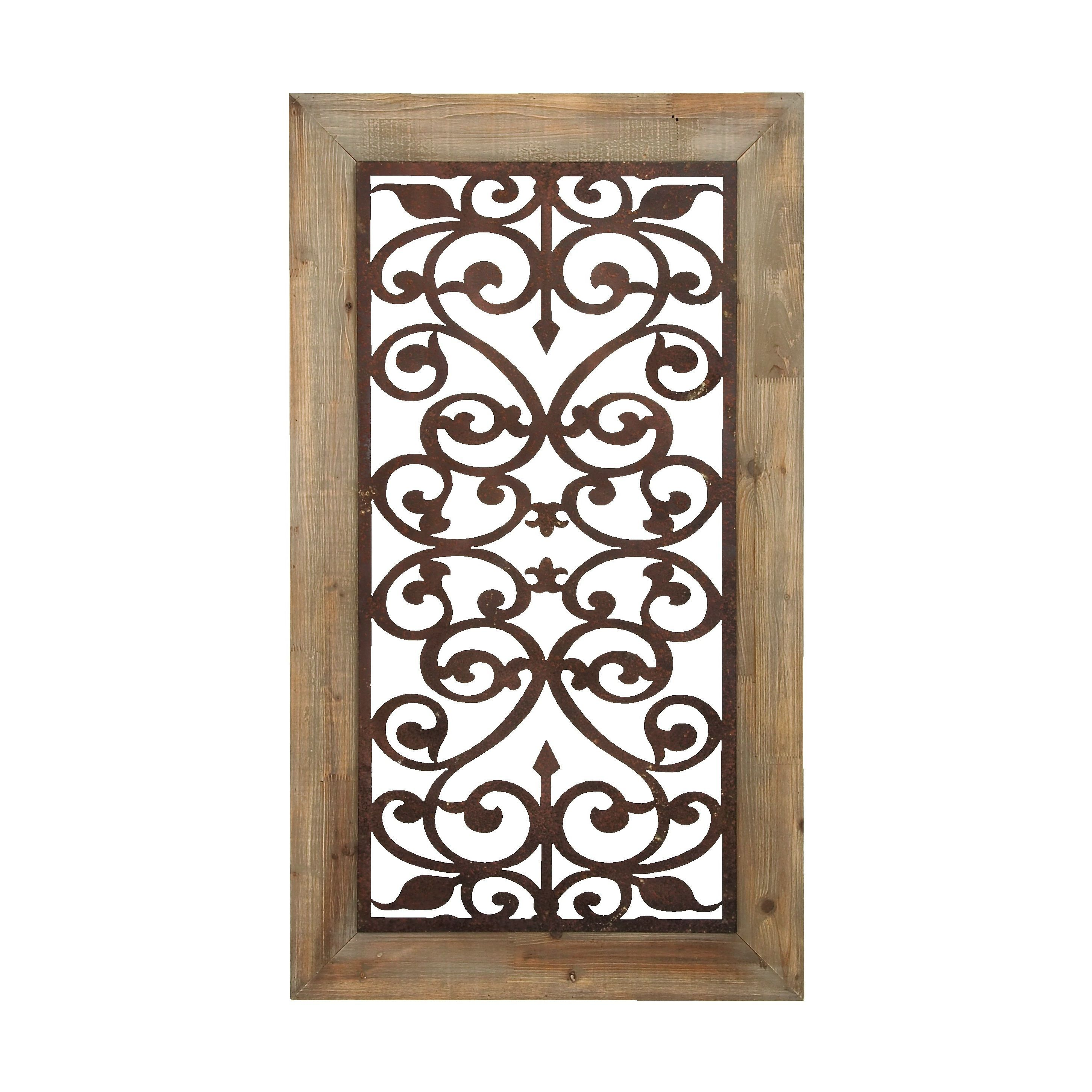 Studio rustic distressed wood wall panel brown online art