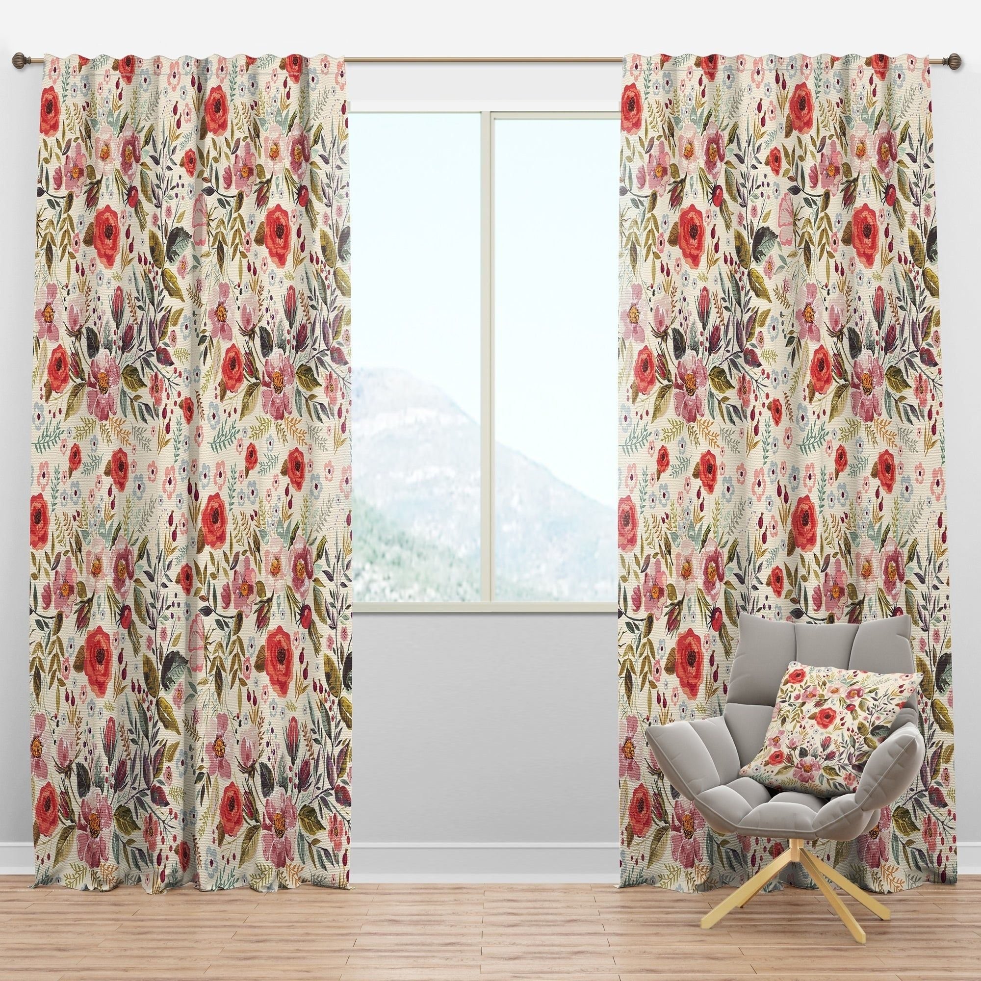 Designart Vintage Red Pink Flower And Leaves Rustic Curtain