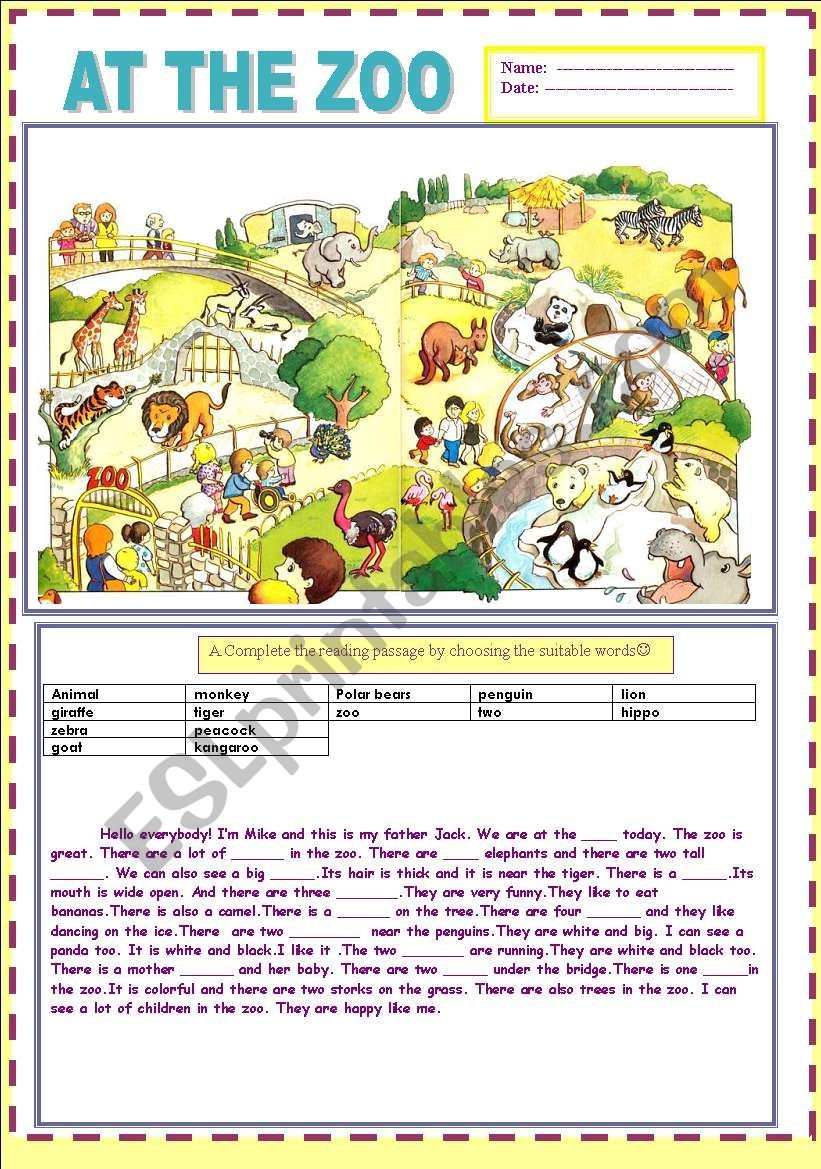 2 pages 3 sections at the zoo answer key included grammar english story zoo pictures. Black Bedroom Furniture Sets. Home Design Ideas