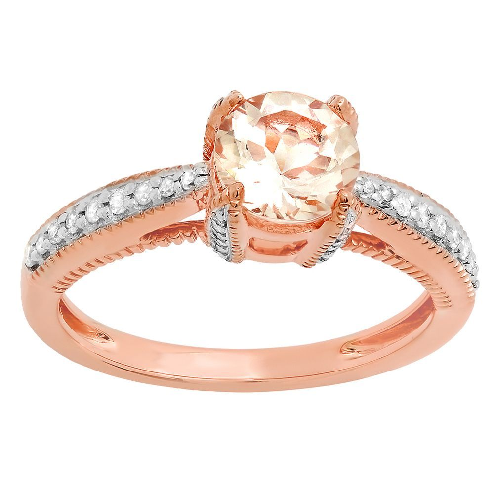 10k Rose Gold 1 1/6ct TDW Round Morganite and White Diamond Solitaire Engagement Ring (I-J, I1-I2 ) (Size