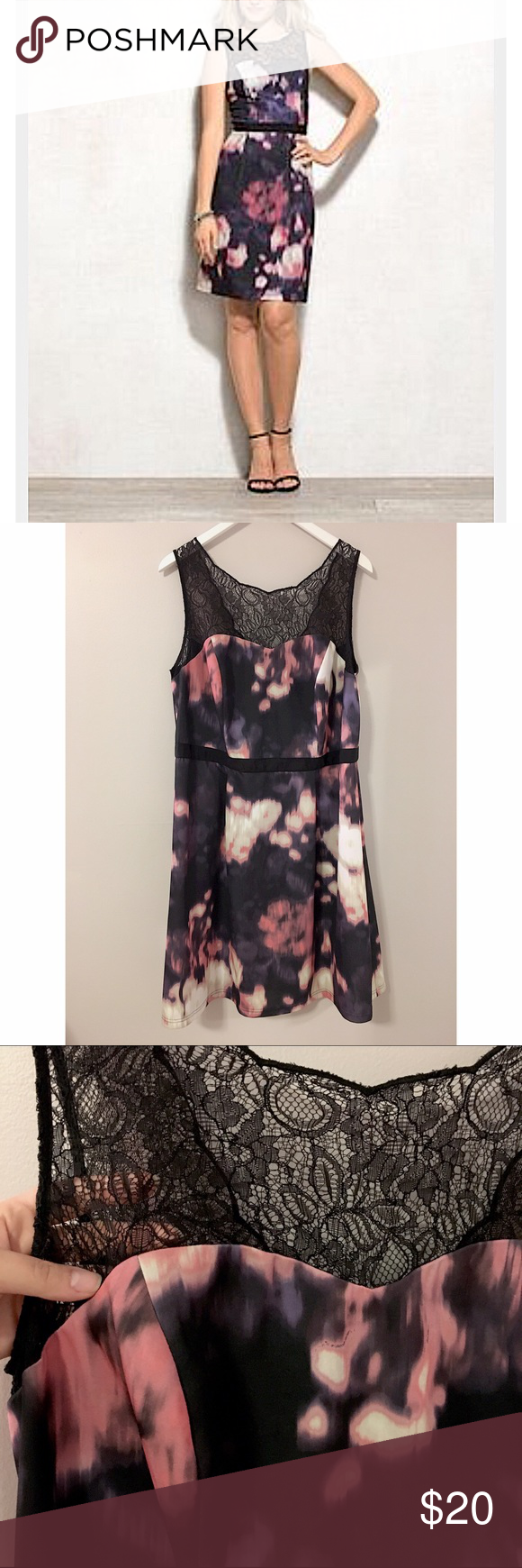 Illusion Neckline Print Dress Gorgeous! Beautiful lace illusion Neckline with scalloped edges on back! Soft stretchy material with beautiful purple, black, and pink watercolor design. Worn once. Brand is  Lovely by Adrianna Papell. Adrianna Papell Dresses