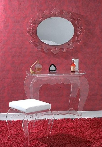 Coiffeuse Et Tabouret Baroque Realises Entierement En Plexi Transparent Incolore Miroir Baroque Coiffeuse Tabouret