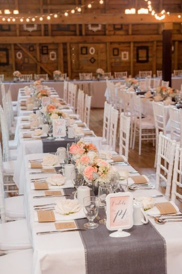 This next sweet couple had a fabulous Pretty In Peach Wedding that included both the beach and a beautiful barn! Photographed by Rachel Peters Photography.
