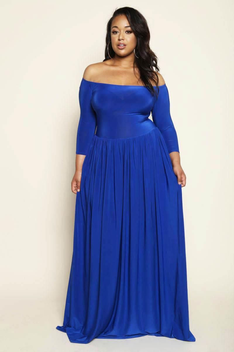 Royal Blue sophisticated off shoulder Plus Size Maxi Dress | Blue ...