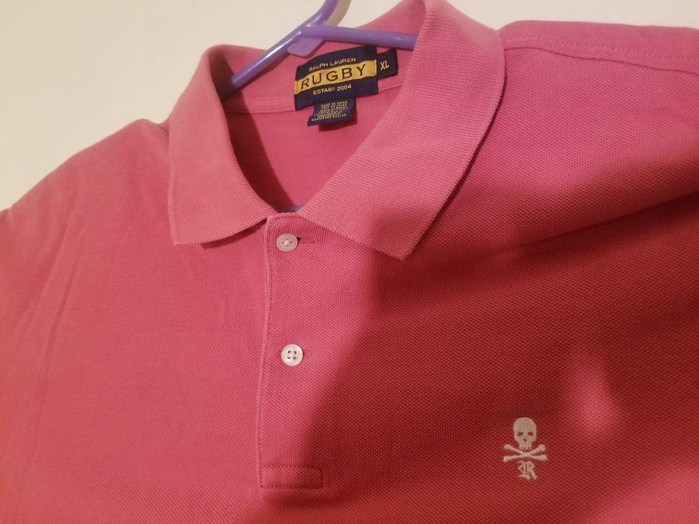 b3fc7499187 RRL RUGBY Ralph Lauren Mens SKULL & CROSSBONES Polo XL Shirt SALMON/WHITE  EUC #fashion #clothing #shoes #accessories #mensclothing #shirts (ebay link)