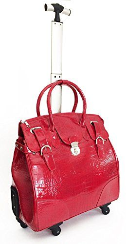 21 Computer Laptop Carry Bag Tote Duffel Rolling 4wheel Spinner Luggage Croc Red Trendyflyer