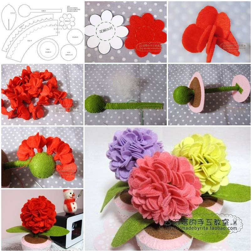 How To Make Felt Hydrangea Flower Step By Step Diy Tutorial