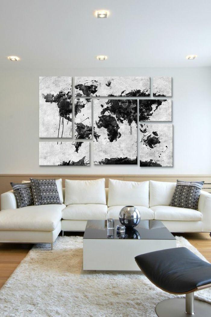 weltkarte wand leinwand wohnzimmer weißer teppich Wanddekoration - leinwand für wohnzimmer