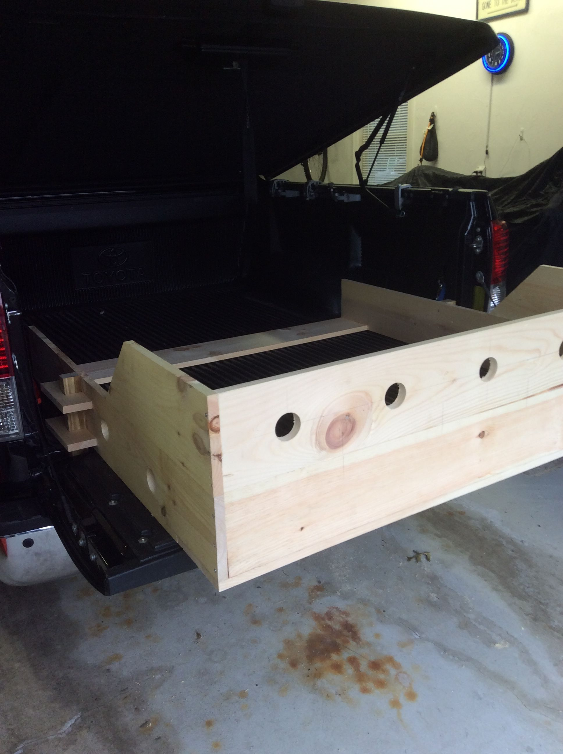 Back of bed extender, holes are for air flow while moving