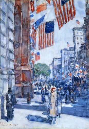 Flags, Fifth Avenue - Childe Hassam 1918