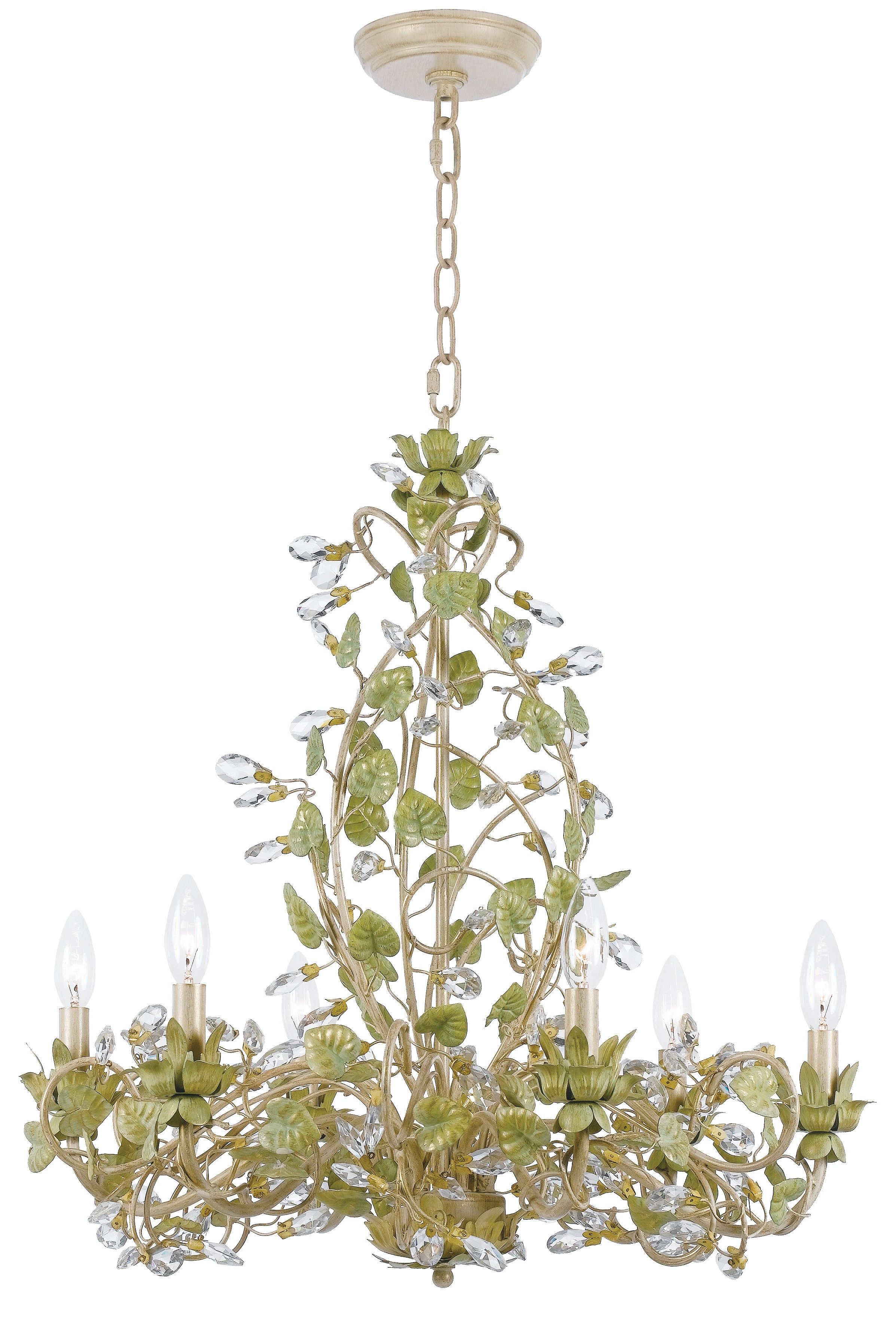 Crystorama josie 6light chandelier in champagne green tea