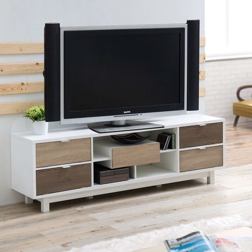 70 Inch White Tv Stand Entertainment Center Natural Wood Accents