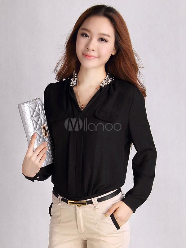 e53c832500ca Blusa de chifón con manga larga de moda - Milanoo.com   blusas ...