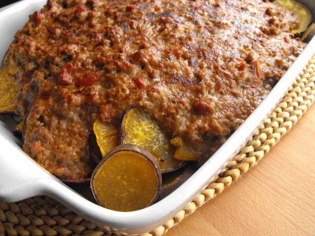 As receitas lá de casa: Carne picada em cama de batata-doce
