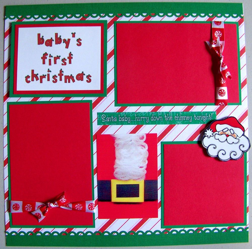 Scrapbook ideas with ribbon - Baby S First Christmas One 12x12 Premade Scrapbook Page