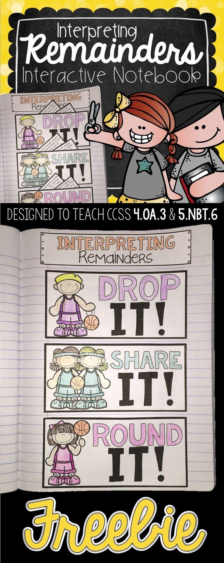 Interactive Math Notebook Interpreting Remainders Freebie Math Notebooks Math Interactive Notebook Interpreting Remainders