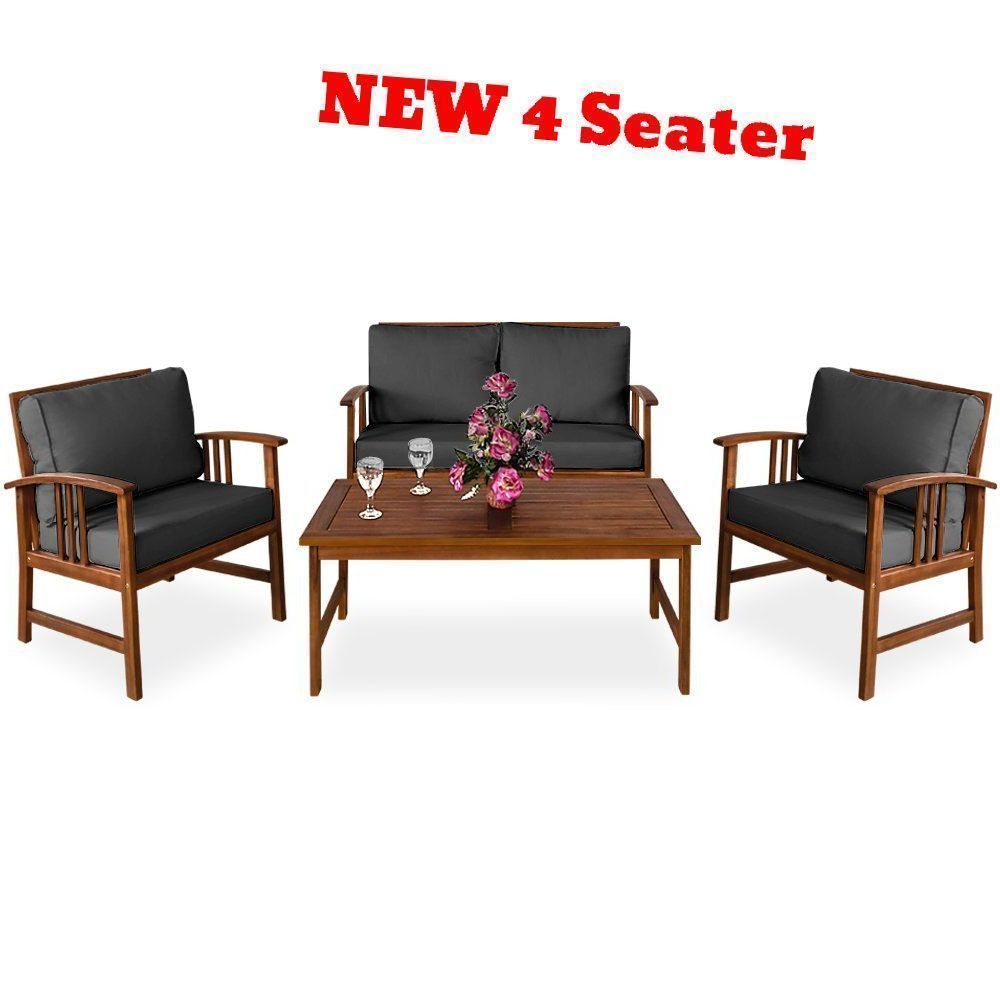 Garden Furniture Set Wood Outdoor Patio Coffee Table Arm Chair