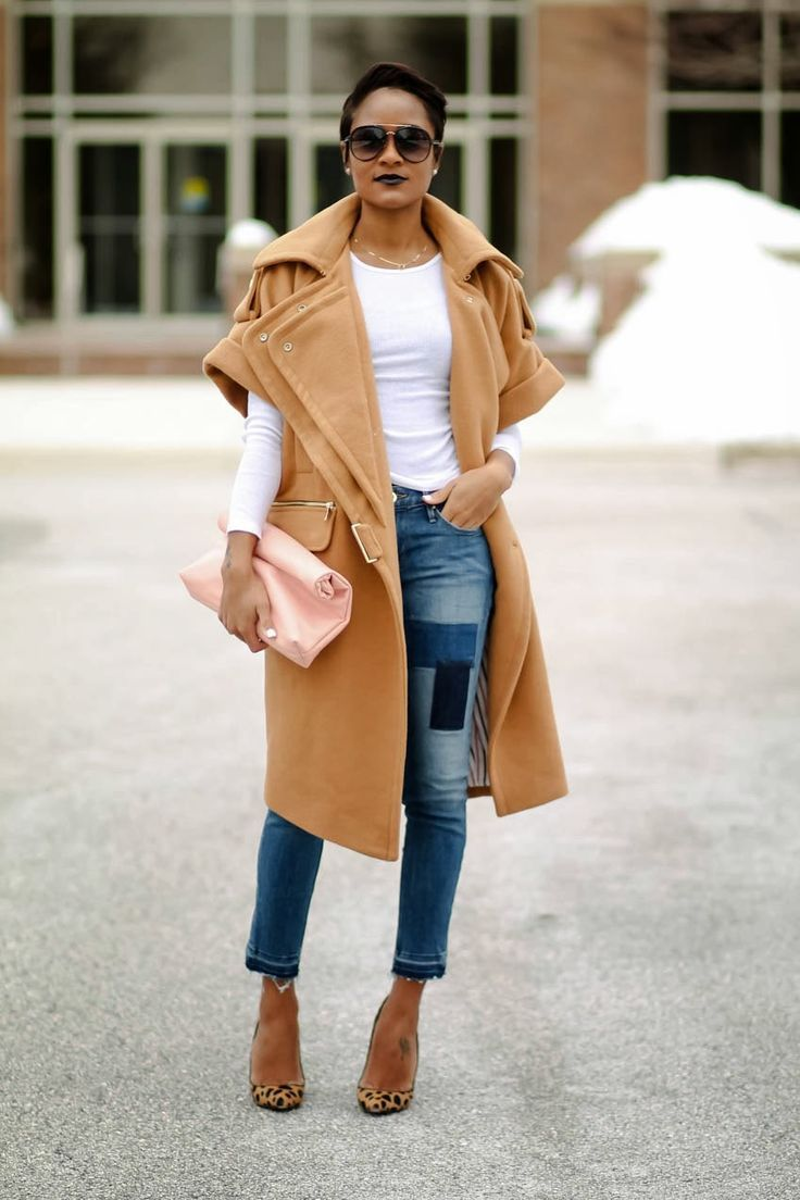 Women's Camel Sleeveless Coat, White Long Sleeve T-shirt, Blue Ripped  Skinny Jeans, Tan Leopard Suede Pumps