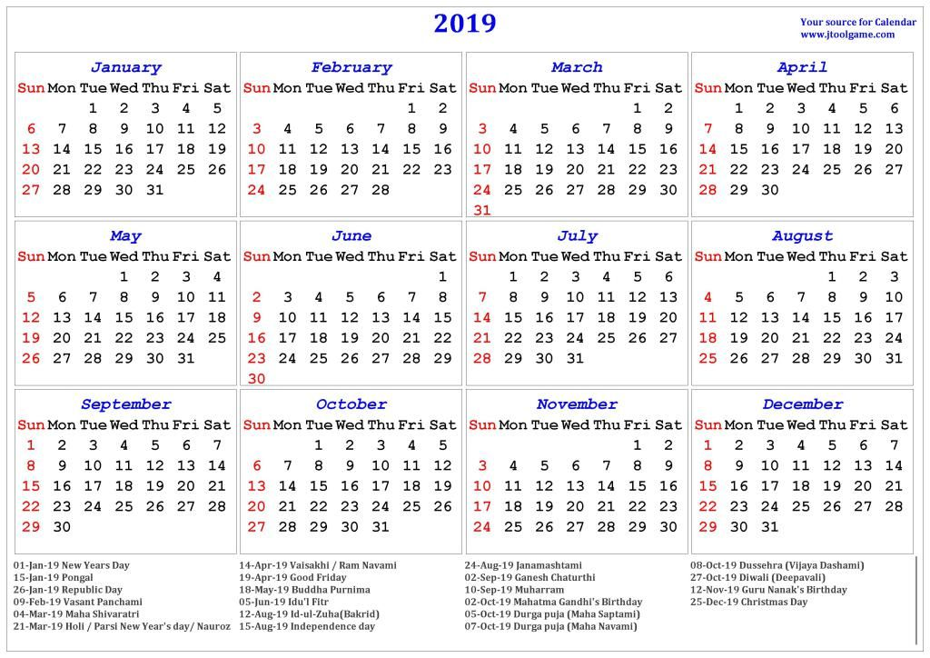Free Printable Calendar 2019 With Indian Holidays With Images