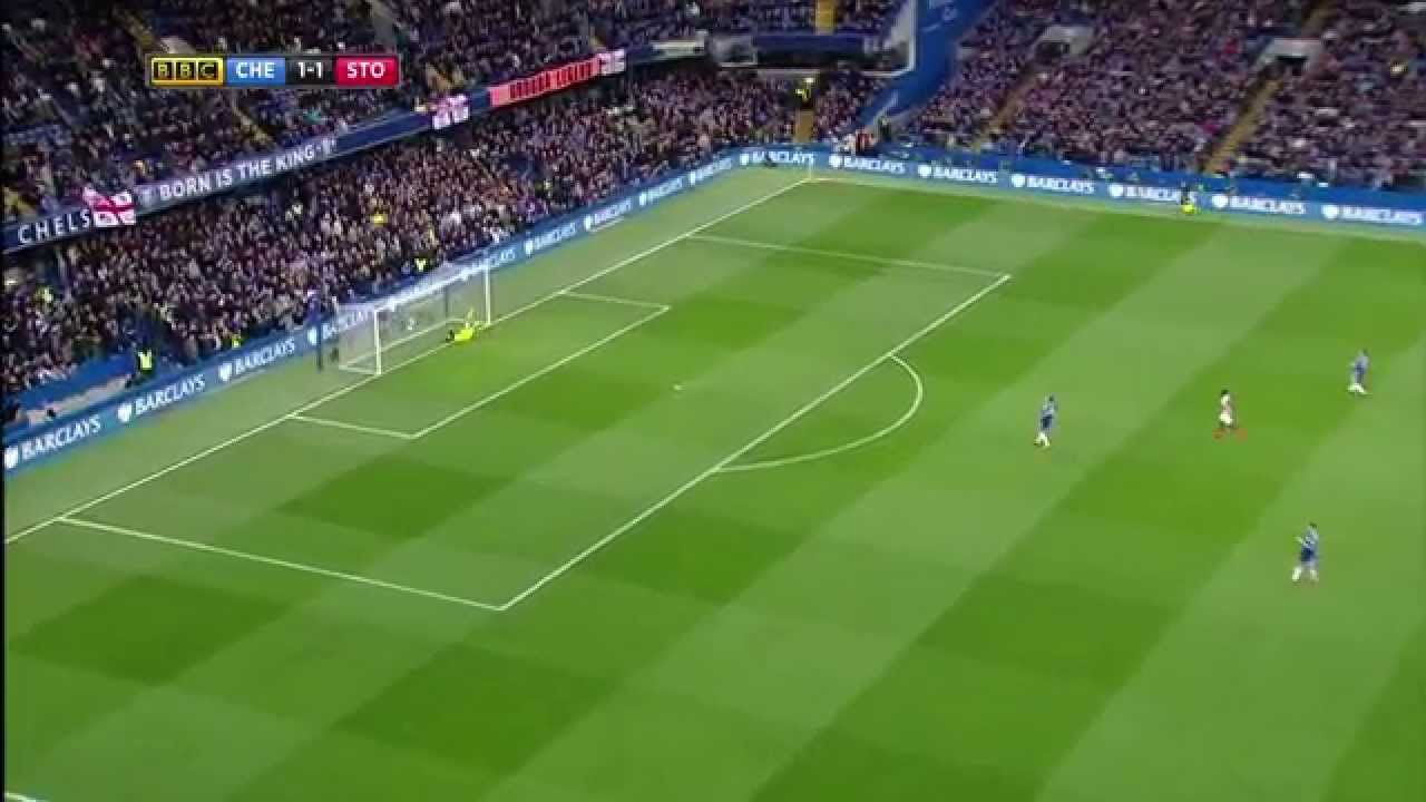 Charlie Adam Scores From The Half Way (Chelsea vs Stoke - 04/04/2015)