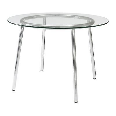 Ikea Dining Table Salmi With Glass Top And Chrome Plated Good Condition Round Glass Table Round Dining Table Modern Glass Top Table