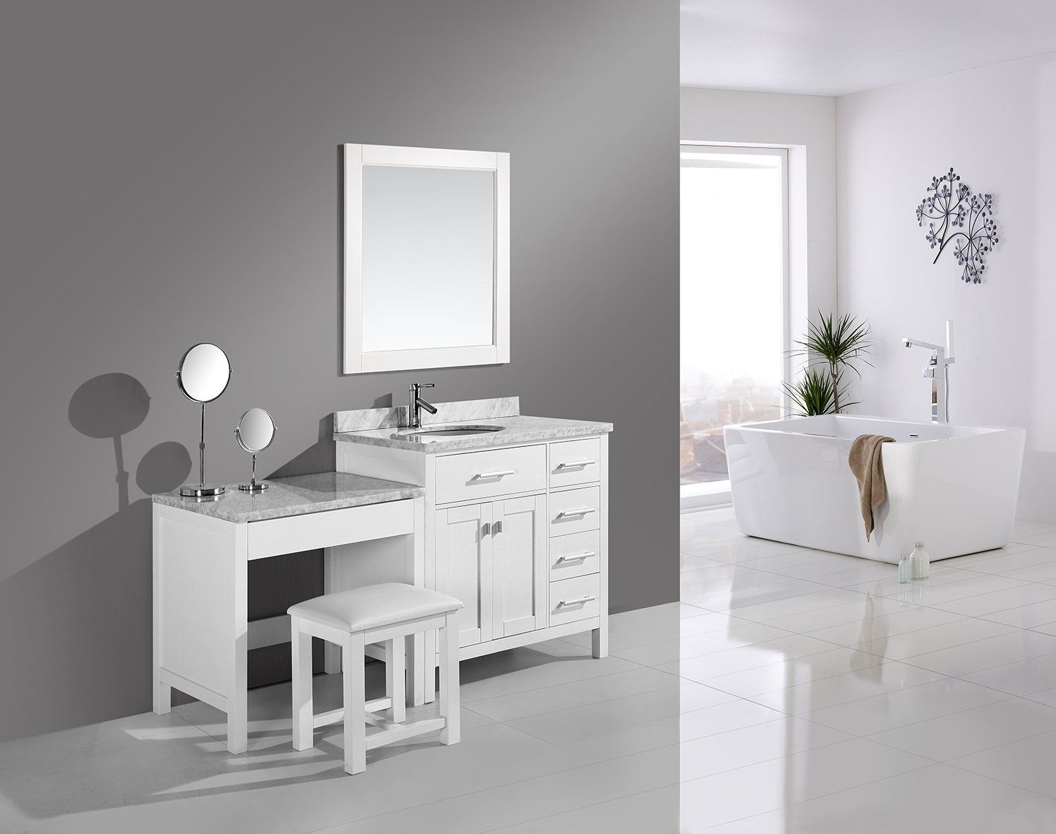 """London 36"""" Single Sink Vanity Set in White with One Make"""