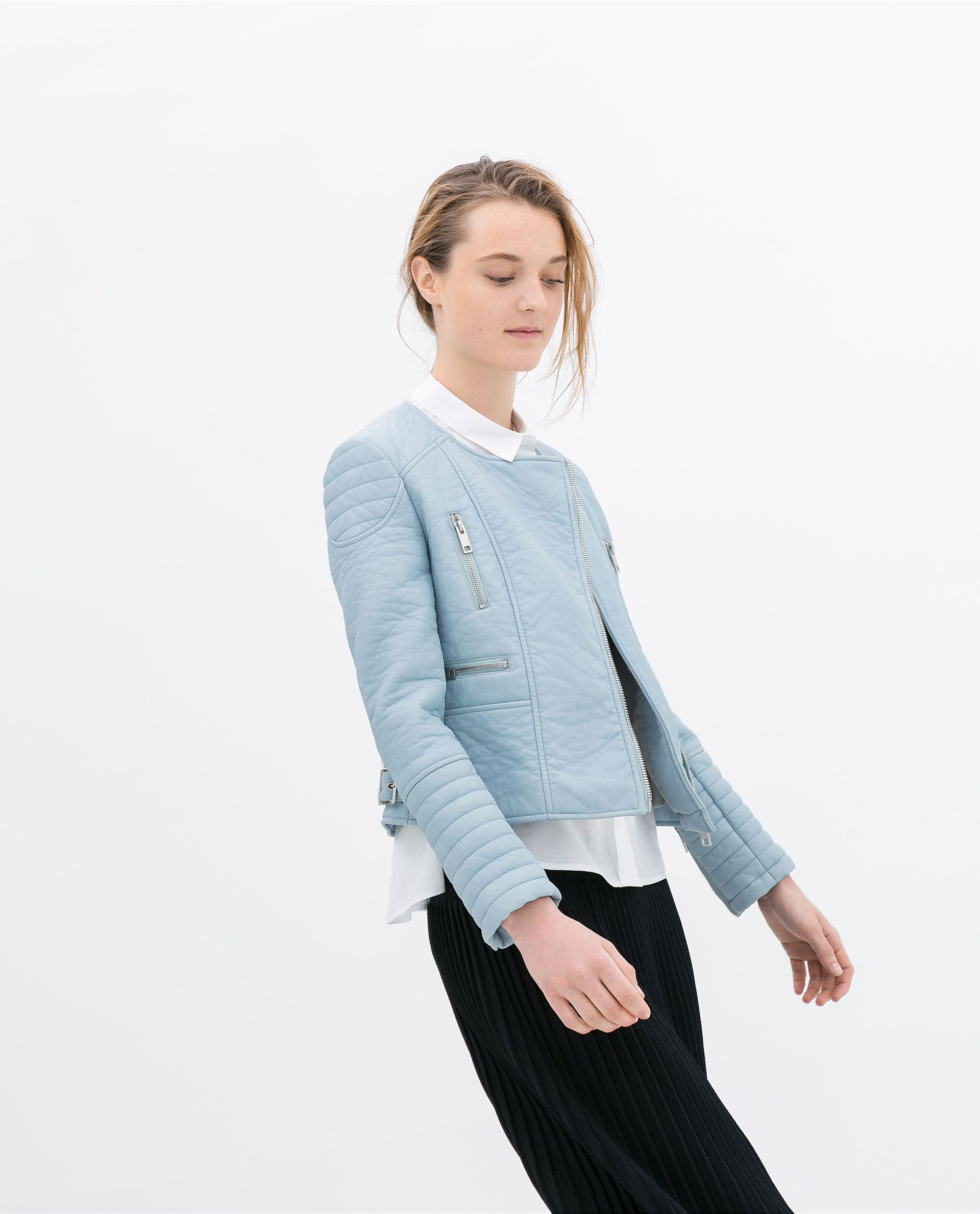 ZARA WOMAN DOUBLE BREASTED FAUX LEATHER JACKET Faux