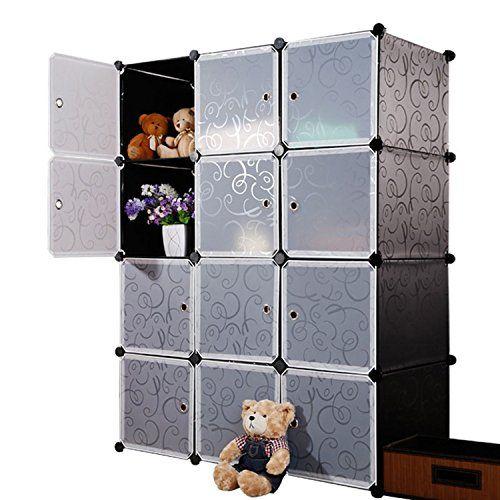 Unicoo Multi Use Diy 12 Cube Organizer Bookcase Storage Cabinet Wardrobe Closet Regular Cube Black Cube Organizer Bookcase Organization Bookshelves Kids