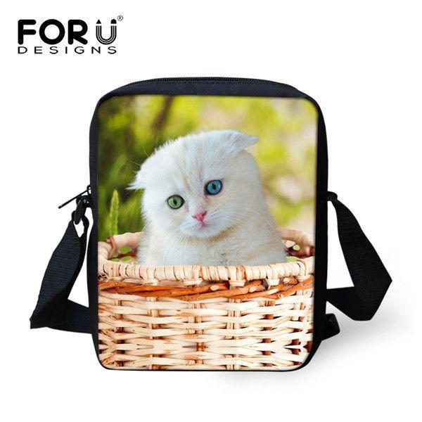 FORUDESIGNS Jean Style Small Handbags Women Cute Denim Cat Baby Girls Mini Messenger Bag Kindergarten Kids Crossbody Bag Mochila