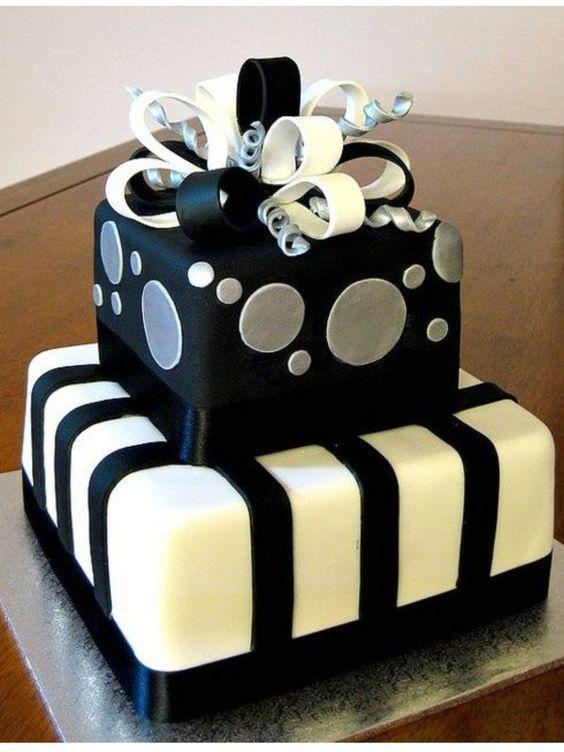 Black Silver Present 30th Birthday Cake Bolo De Aniversario