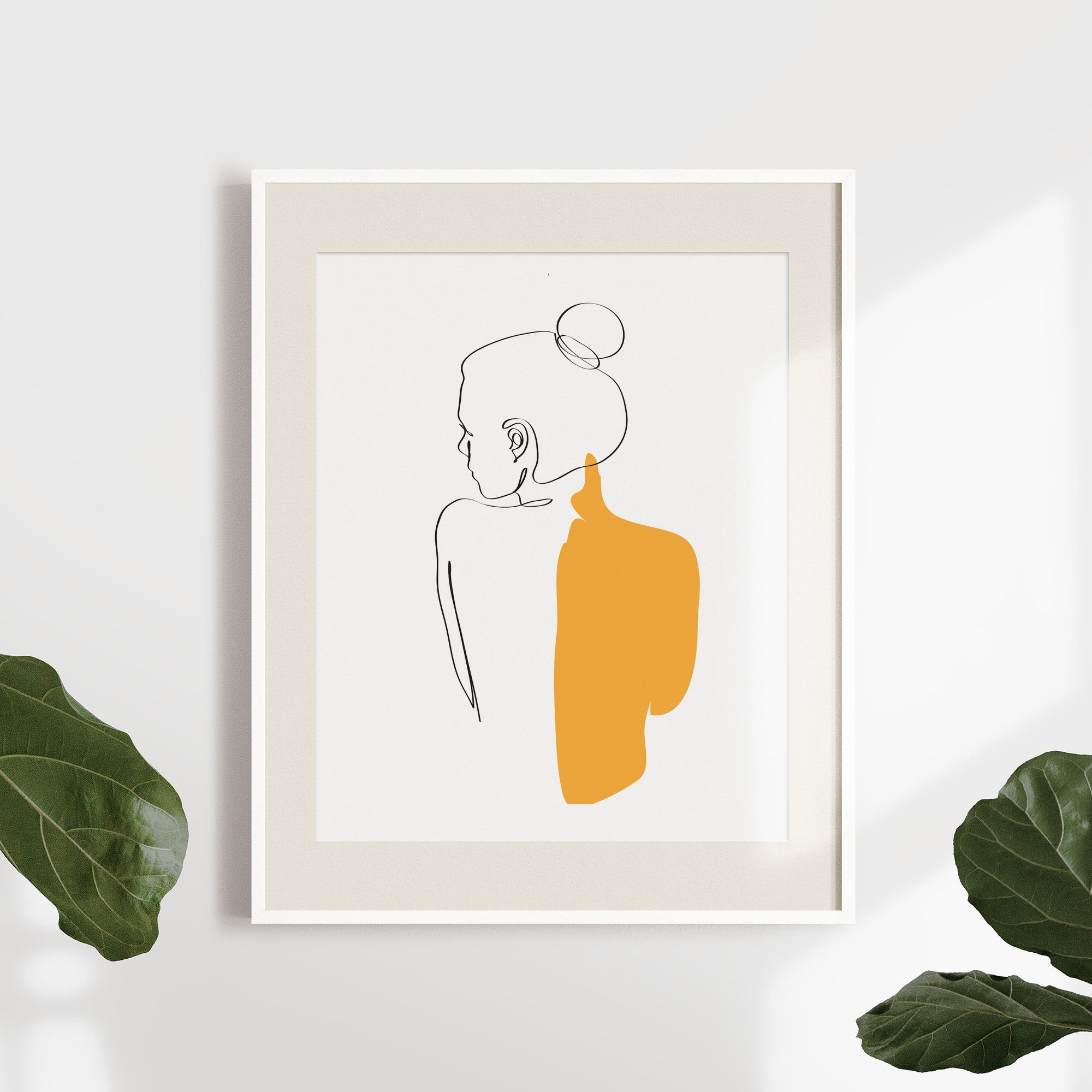 Abstract One-Line Feminine Figure Printable, Minimalist Nude Woman Body From Back Art, Fine Naked Prints, Illustration Poster, Digital Print