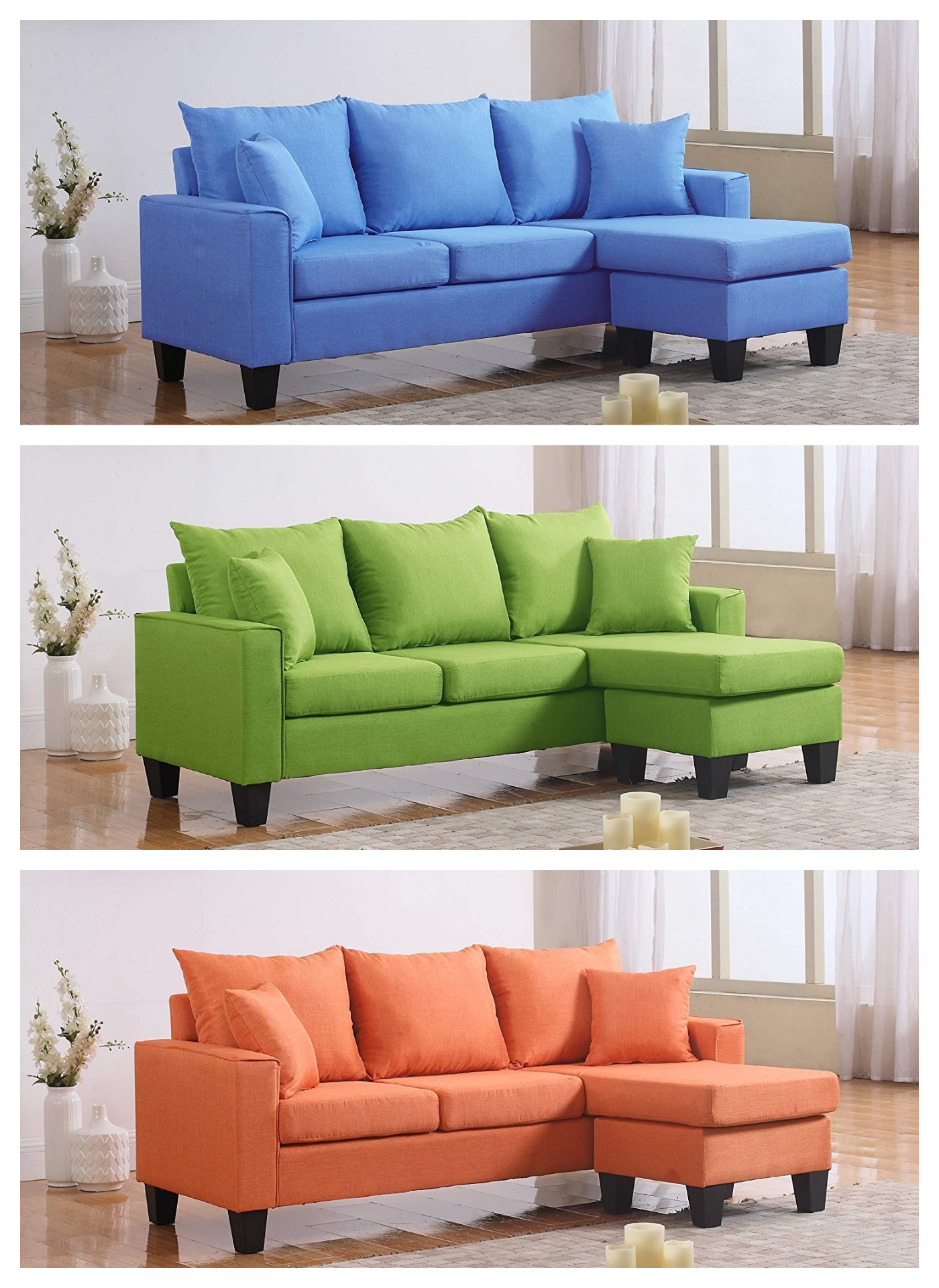 Divano Roma Furniture Modern Linen Fabric Small E Sectional Sofa With Reversible Chaise