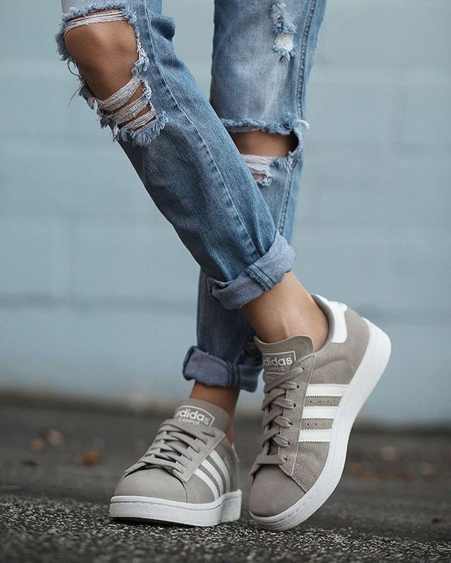 Green suede Adidas and distressed denim