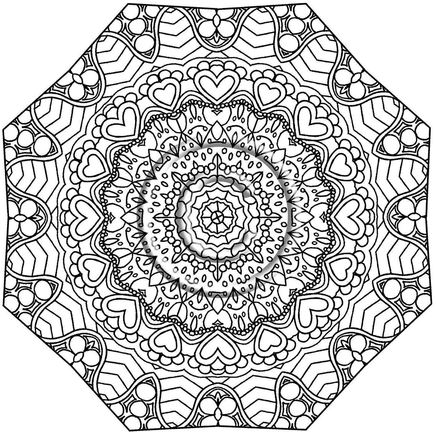Printable Download Coloring Page Hand Drawn Zentangle Inspired Abstract Zendoodle Mandala Lin Abstract Coloring Pages Art Therapy Coloring Book Coloring Pages
