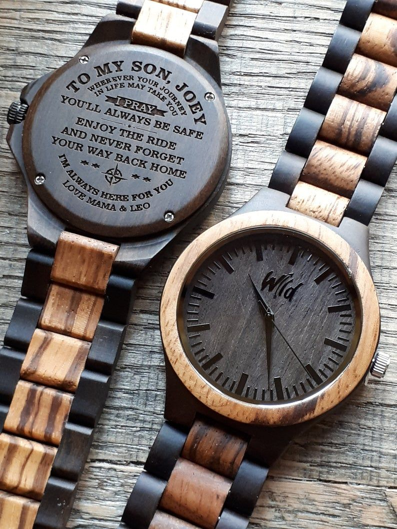 Wood Watch Mens Watch Engraved Watch Fathers Day Gift Etsy Mens Watches Engraved Watch Engraving Watches For Men
