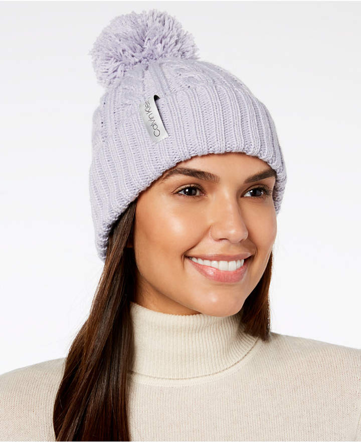 cd91d986fbd Calvin Klein Solid Cable-Knit Beanie - Purple in 2019