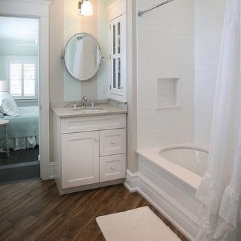 striped bathroom walls, cottage, bathroom, beach dwellings
