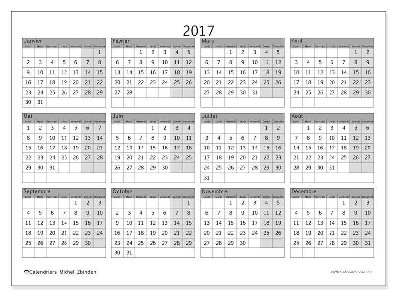 Super Calendrier 2017 à imprimer, gratuit. Calendrier annuel : Albertus  PF48