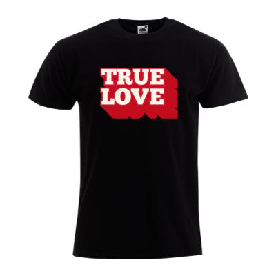 """T-shirt Homme FRUIT OF THE LOOM Noir - T-shirt """"True Love"""" #amour #love #truelove #saintvalentin #comboutique #tshirtpersonnalisé"""