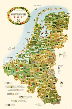 tourist map of belgium holland and luxember poster