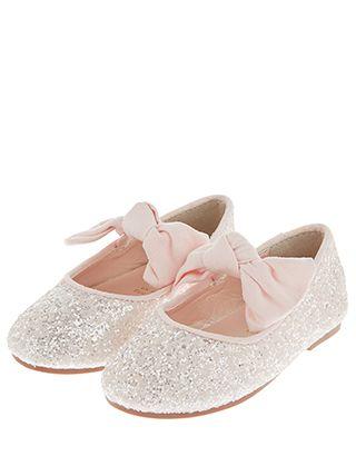 197a9d8920b8 Baby Bridget Glitter Bow Ballerina Flats