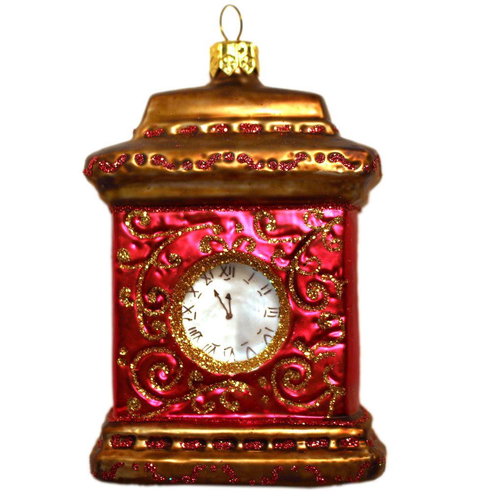 Glasfigur Figur Glas Kaminuhr Uhr Christbaumschmuck