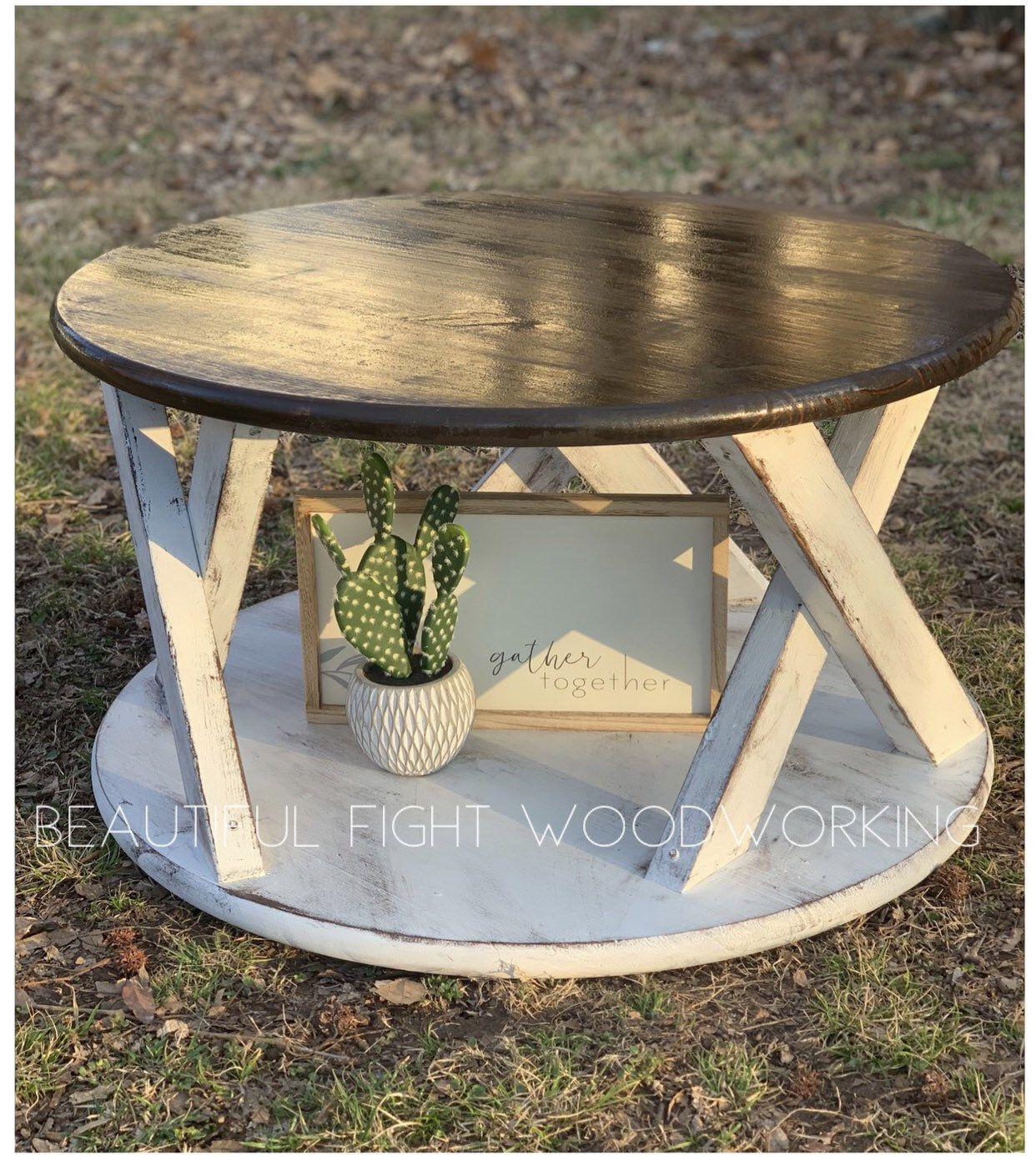 Round Farmhouse Coffee Table Coffee Table Plans Coffee Table Farmhouse Coffee Table Wood [ 1386 x 1242 Pixel ]