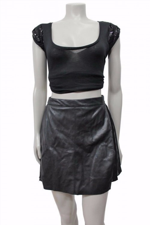 21.05$  Buy here - http://vihzu.justgood.pw/vig/item.php?t=7uc70q611518 - Zara basic black Faux leather sheer pannel A-line Mini skirt size S 21.05$