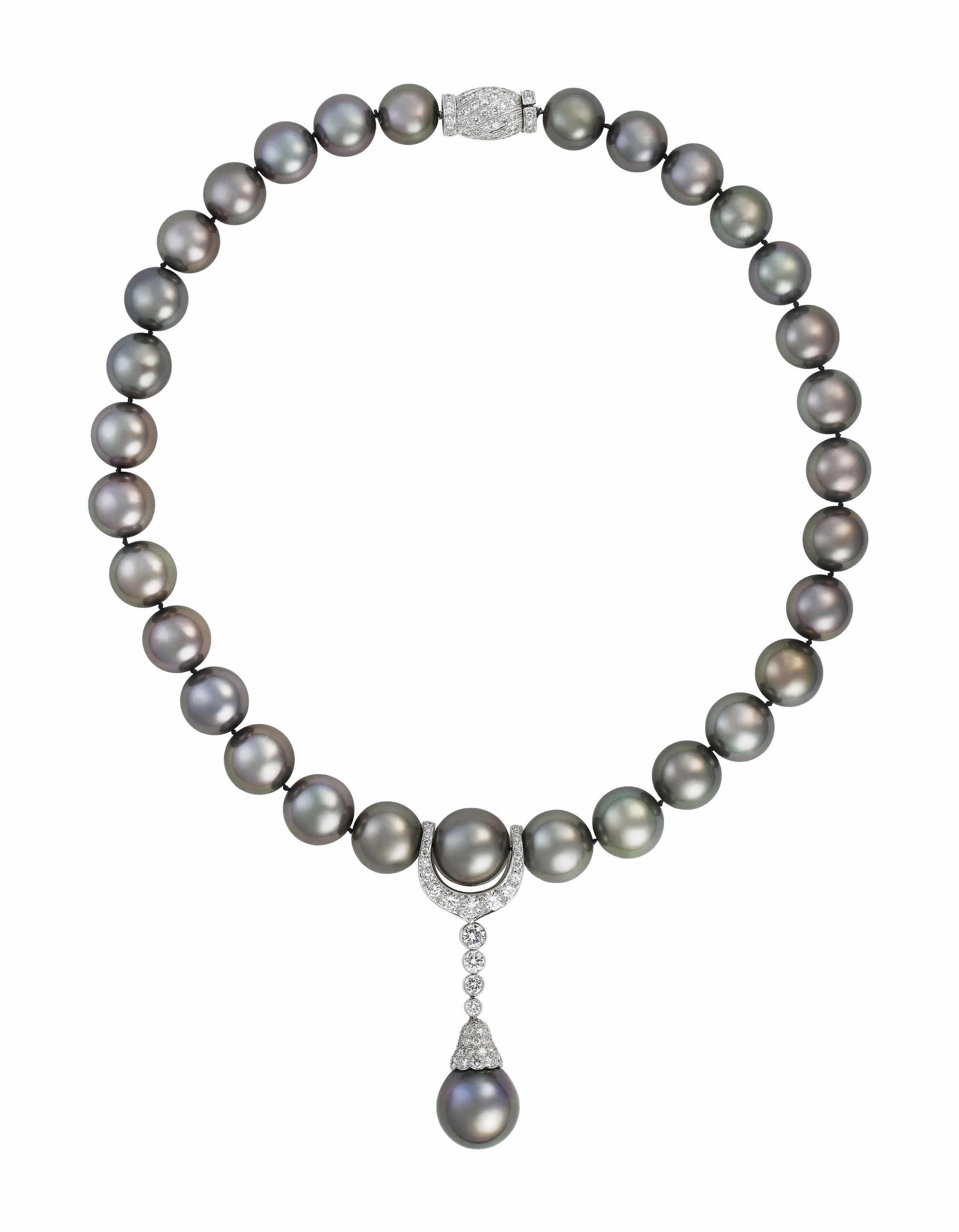 ed86e06f78bf COLOURED CULTURED PEARL AND DIAMOND NECKLACE, CARTIER   Jewelry ...