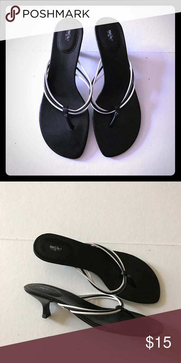 Mossimo Black White Kitten Heel Sandals New Kitten Heel Sandals Kitten Heels Sandals Heels