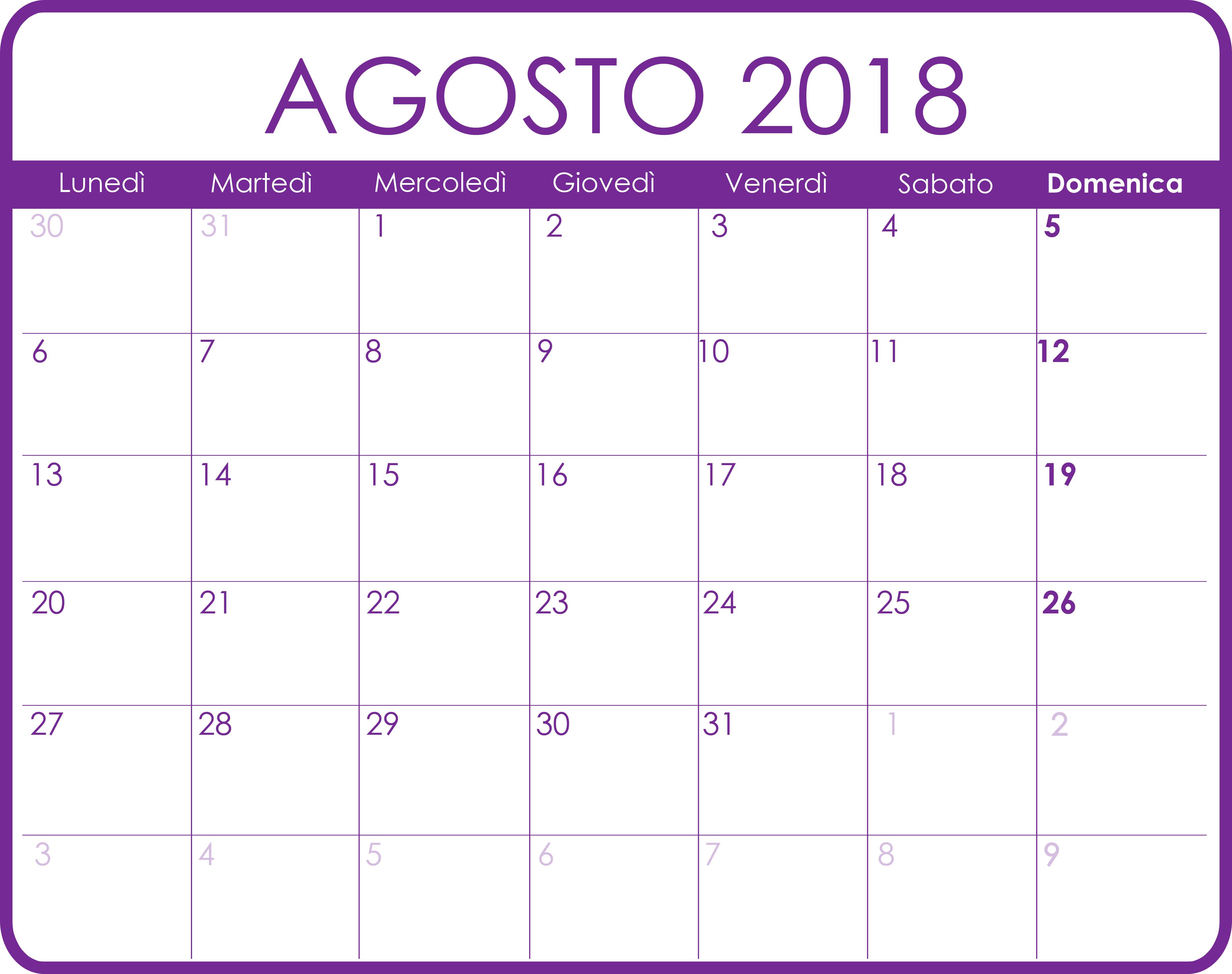 Calendario Agosto 2018 Calendario Agosto 2018 Pdf Word Excel