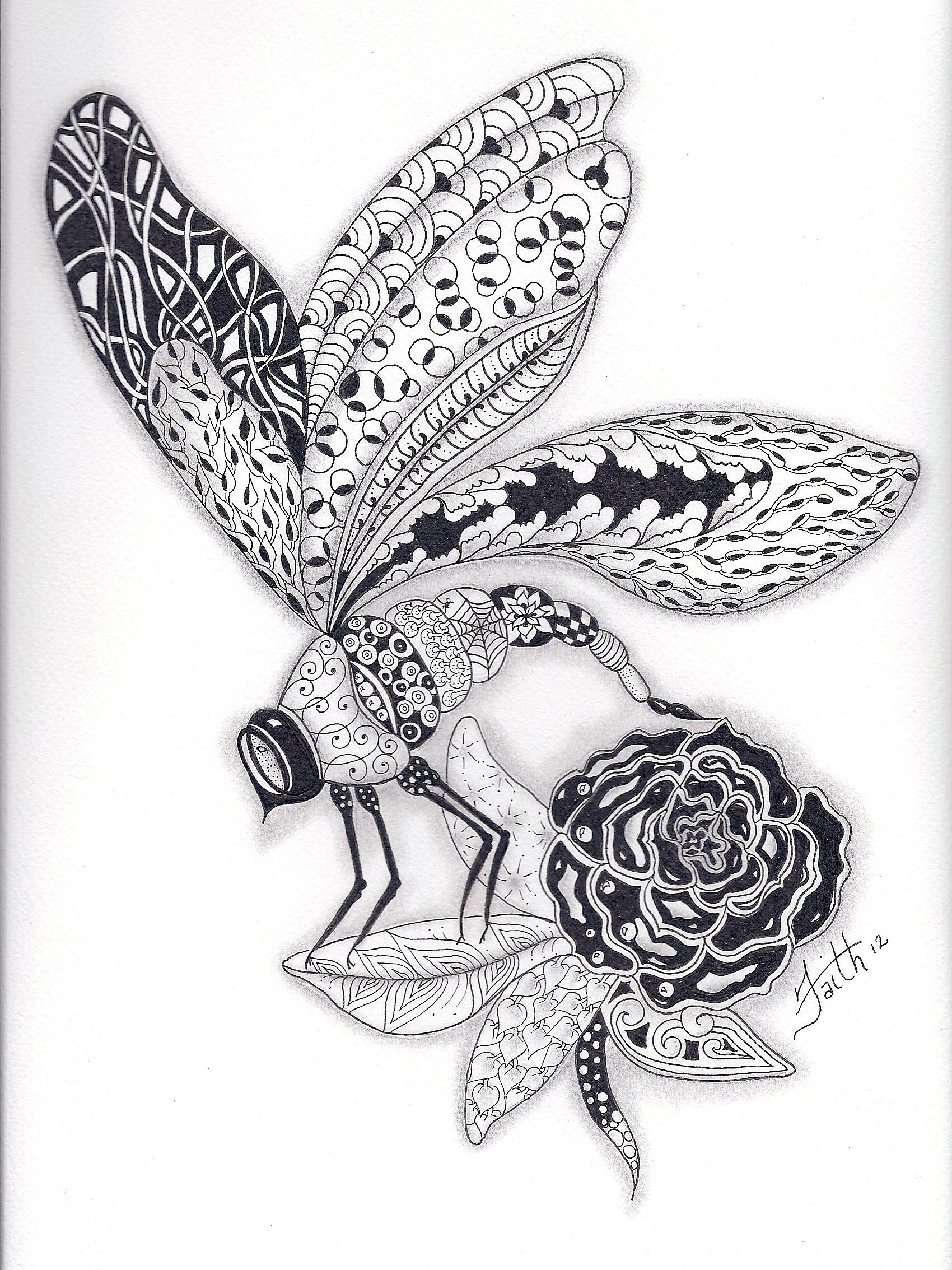 Zentangled Dragonfly My Balance Pinterest Omalovanky Mandaly