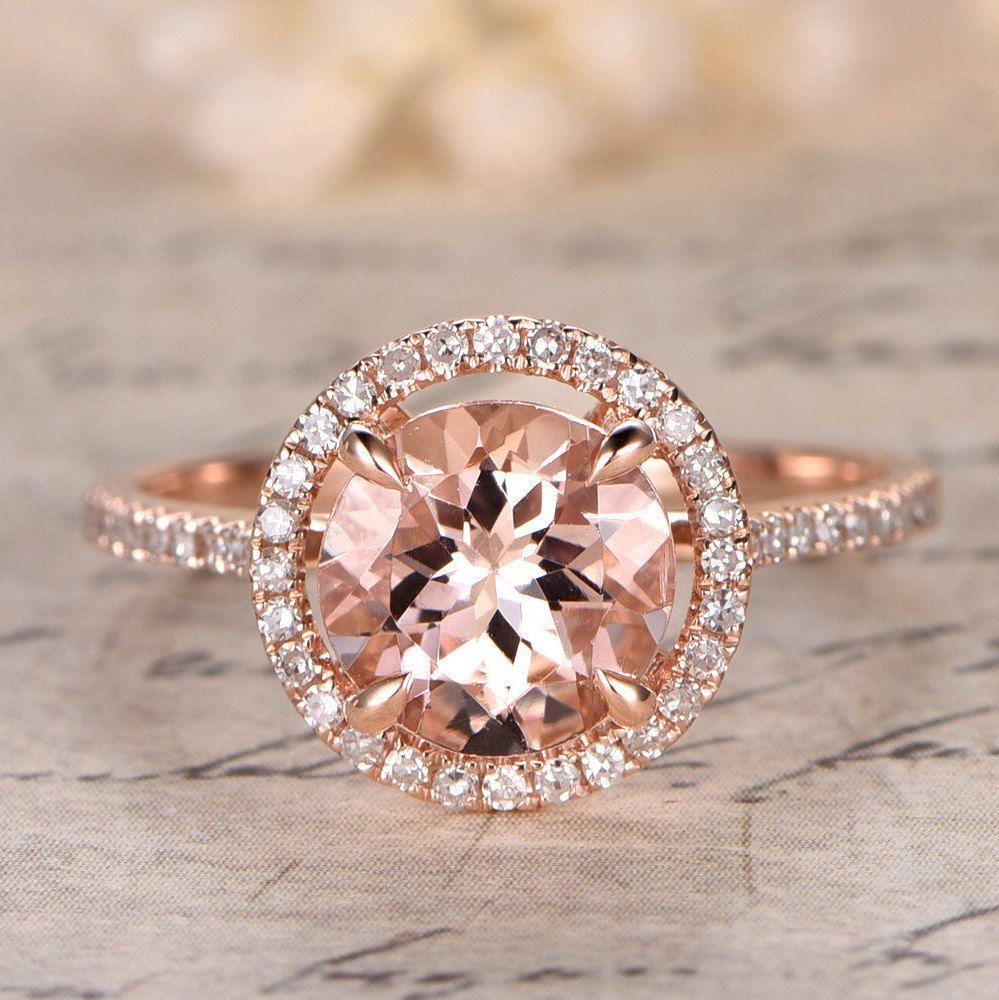 8mm Ring 14K Rose Gold Pave Diamond Wedding Band